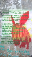 Graffiti of poem in green writing with red painted donkey