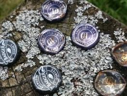 Metal beer bottle caps tops lids embedded in wooden fence post