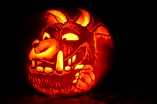 Image of pumpkin-carved with gruffalo face design