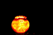 Image of pumpkin-carved with open winged owl design