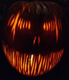 Image of carved pumpkin-with-razor-sharp-teeth design