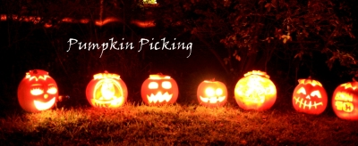 row-of-carved-pumpkins-lit-up-in-dark-with-banner
