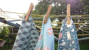 Sandwich wraps pegged to outdoor clothes line