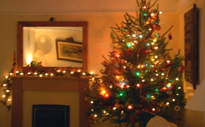 christmas-tree-and-fireplace-decorated-with-lights