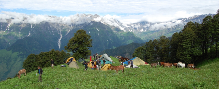 hillside-campsite-with-donkeys-and-tents-in-front-of-snow-capped-mountain-backdrop