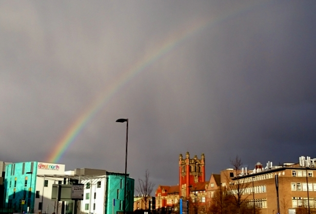 Rainbow over Great North Childrens Hospital