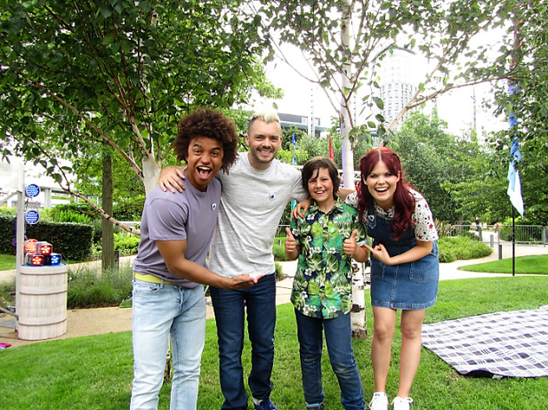 Boy with Blue Peter presenters