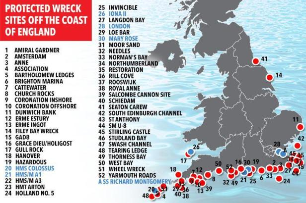 Image of map of the UK showing named and numbered protected wreck diving sites courtesy of The Sun newspaper