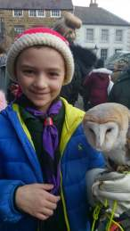 Image of girl in santa hat with cub uniform on under blue coat holding barn owl in right hand in market square