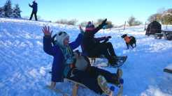 Image of two girls sledging down gentle snowy hill with blue sky and dog in background